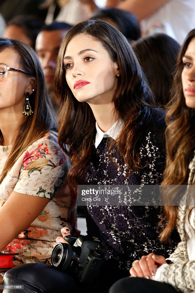 <a gi-track='captionPersonalityLinkClicked' href=/galleries/search?phrase=Emmy+Rossum&family=editorial&specificpeople=202563 ng-click='$event.stopPropagation()'>Emmy Rossum</a> attends the Tory Burch fashion show during Mercedes-Benz Fashion Week Spring at David H. Koch Theater at Lincoln Center on September 10, 2013 in New York City.