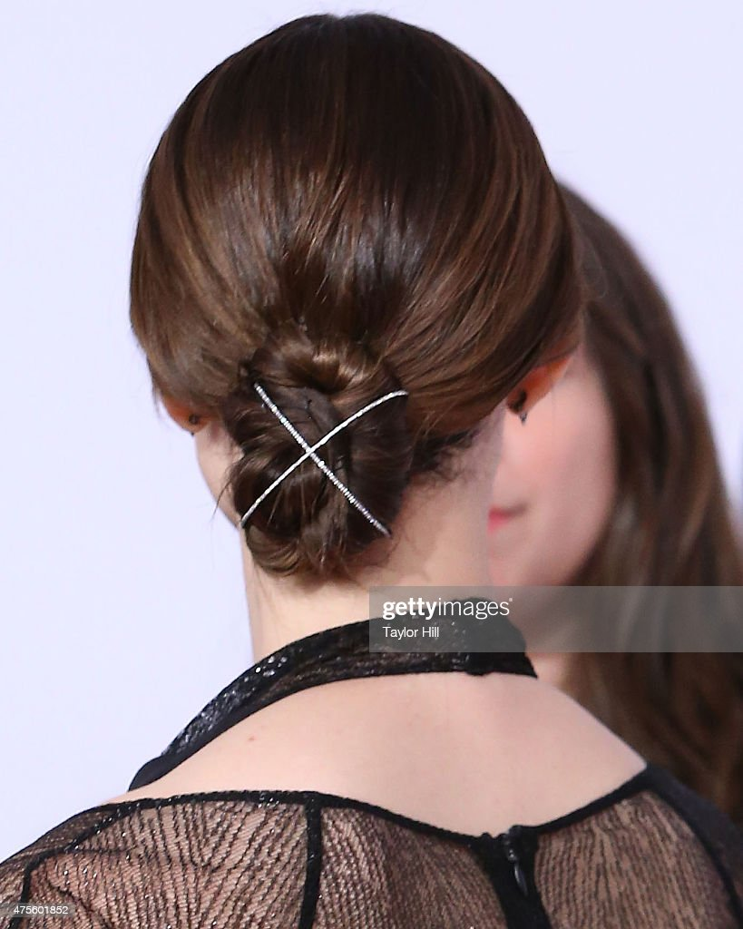 Emmy Rossum hair detail attends the 2015 CFDA Awards at Alice Tully Hall at Lincoln Center on June 1 2015 in New York City