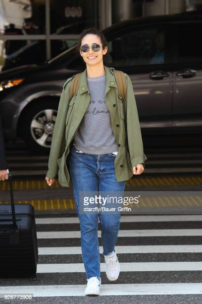 Emmy Rossum is seen at LAX on August 05 2017 in Los Angeles California