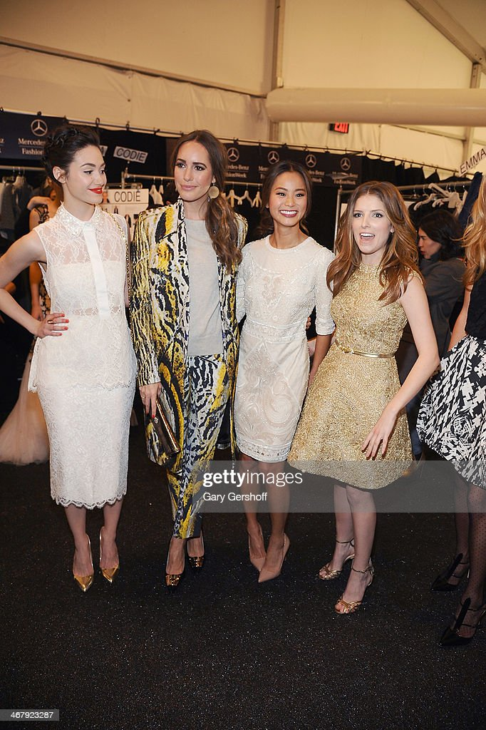 <a gi-track='captionPersonalityLinkClicked' href=/galleries/search?phrase=Emmy+Rossum&family=editorial&specificpeople=202563 ng-click='$event.stopPropagation()'>Emmy Rossum</a>, <a gi-track='captionPersonalityLinkClicked' href=/galleries/search?phrase=Louise+Roe&family=editorial&specificpeople=4300958 ng-click='$event.stopPropagation()'>Louise Roe</a>, <a gi-track='captionPersonalityLinkClicked' href=/galleries/search?phrase=Jamie+Chung&family=editorial&specificpeople=4145549 ng-click='$event.stopPropagation()'>Jamie Chung</a> and <a gi-track='captionPersonalityLinkClicked' href=/galleries/search?phrase=Anna+Kendrick&family=editorial&specificpeople=3244893 ng-click='$event.stopPropagation()'>Anna Kendrick</a> pose backstage at the Monique Lhuillier show during Mercedes-Benz Fashion Week Fall 2014 at The Theatre at Lincoln Center on February 8, 2014 in New York City.