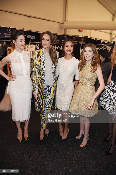 Emmy Rossum Louise Roe Jamie Chung and Anna Kendrick pose backstage at the Monique Lhuillier show during MercedesBenz Fashion Week Fall 2014 at The...