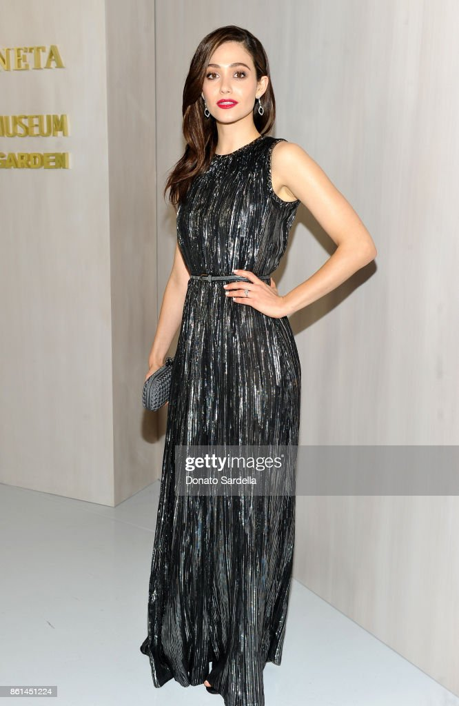 Emmy Rossum, wearing Bottega Veneta, at the Hammer Museum 15th Annual Gala in the Garden with Generous Support from Bottega Veneta on October 14, 2017 in Los Angeles, California.