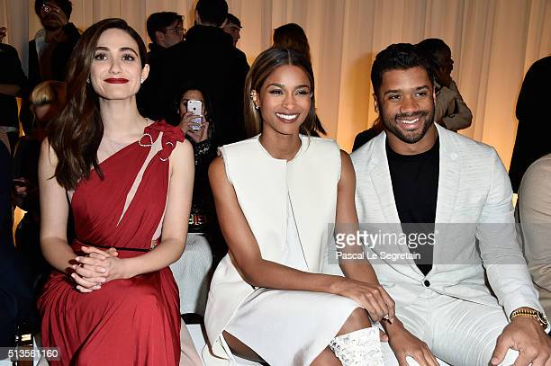 Emmy RossumCiara and Russel Wilson attend the Lanvin show as part of the Paris Fashion Week Womenswear Fall/Winter 2016/2017 on March 3 2016 in Paris...