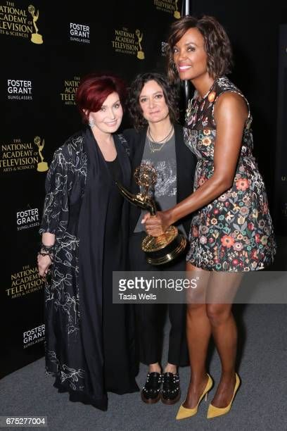 Emmy Winners for Outstanding Entertainment Talk Show Host for 'The Talk' Sharon Osbourne Sara Gilbert and Aisha Tyler attend the 44th Daytime Emmy...