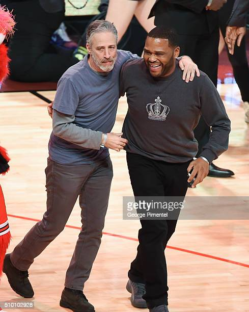 Emmyaward winning television host and comedian Jon Stewart and actor Anthony Anderson attend the 2016 NBA AllStar Saturday Night at Air Canada Centre...
