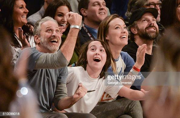 Emmyaward winning television host and comedian Jon Stewart and son Nathan actress Olivia Wilde and actor Jason Sudeikis attend the 2016 NBA AllStar...
