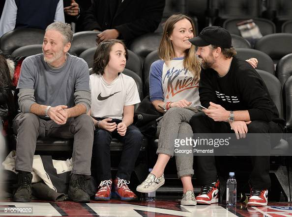 Emmyaward winning television host and comedian Jon Stewart and son Nathan actress Olivia Wilde and actor Jason Sudeikis attends the 2016 NBA AllStar...