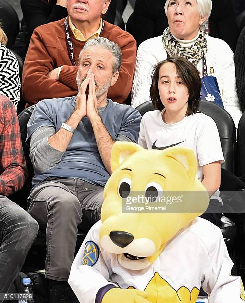 Emmyaward winning television host and comedian Jon Stewart and son Nathan attend the 2016 NBA AllStar Saturday Night at Air Canada Centre on February...