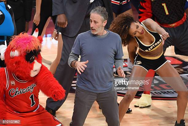Emmyaward winning television host and comedian Jon Stewart attends the 2016 NBA AllStar Saturday Night at Air Canada Centre on February 13 2016 in...