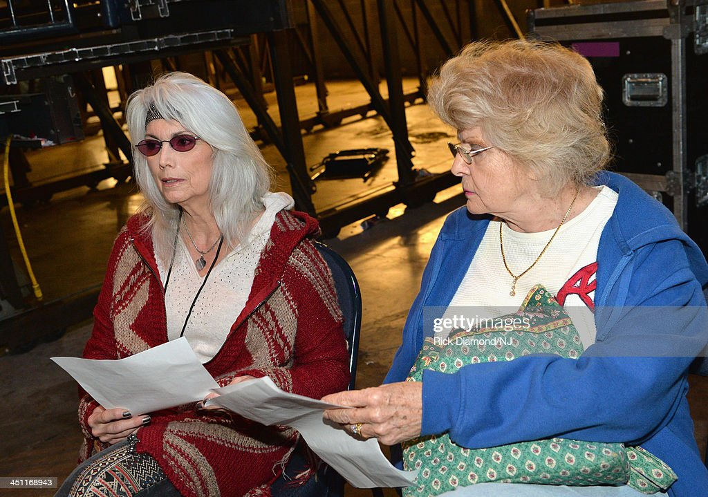 <a gi-track='captionPersonalityLinkClicked' href=/galleries/search?phrase=Emmylou+Harris&family=editorial&specificpeople=240263 ng-click='$event.stopPropagation()'>Emmylou Harris</a> and Jean Shepard rehearse during rehearsals of Playin' Possum! The Final No Show Tribute To George Jones at Bridgestone Arena on November 21, 2013 in Nashville, Tennessee.