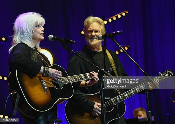 Emmylou Harris and Kris Kristofferson perform at The Life Songs of Kris Kristofferson produced by Blackbird Presents at Bridgestone Arena on March 16...