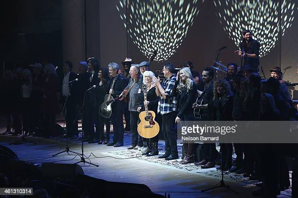 Emmylou Harris and musical guests take a bow onstage during The Life Songs of Emmylou Harris An All Star Concert Celebration at DAR Constitution Hall...
