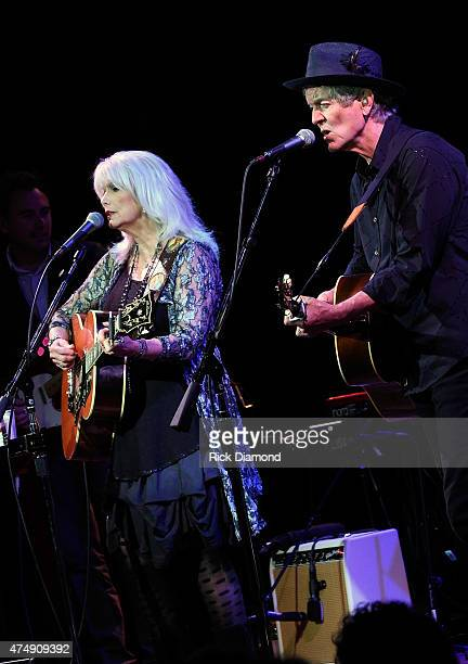 Emmylou Harris and Rodney Crowell perform at City Winery Nashville on May 27 2015 in Nashville Tennessee