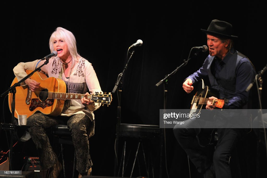 Emmylou Harris and Rodney Crowell perform during All For The Hall New York Benefiting The Country Music Hall Of Fame at Best Buy Theater on February 26, 2013 in New York City.