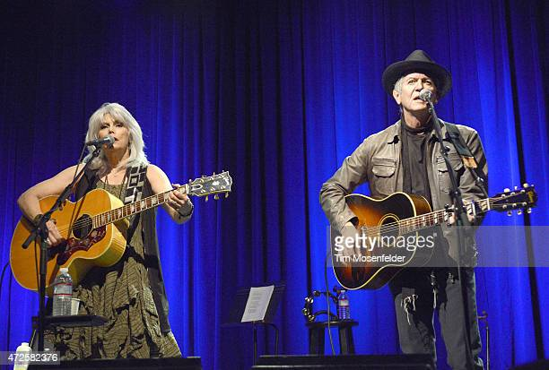 Emmylou Harris and Rodney Crowell perform in support of the duo's 'The Traveling Kind' release at The Fillmore on May 7 2015 in San Francisco...