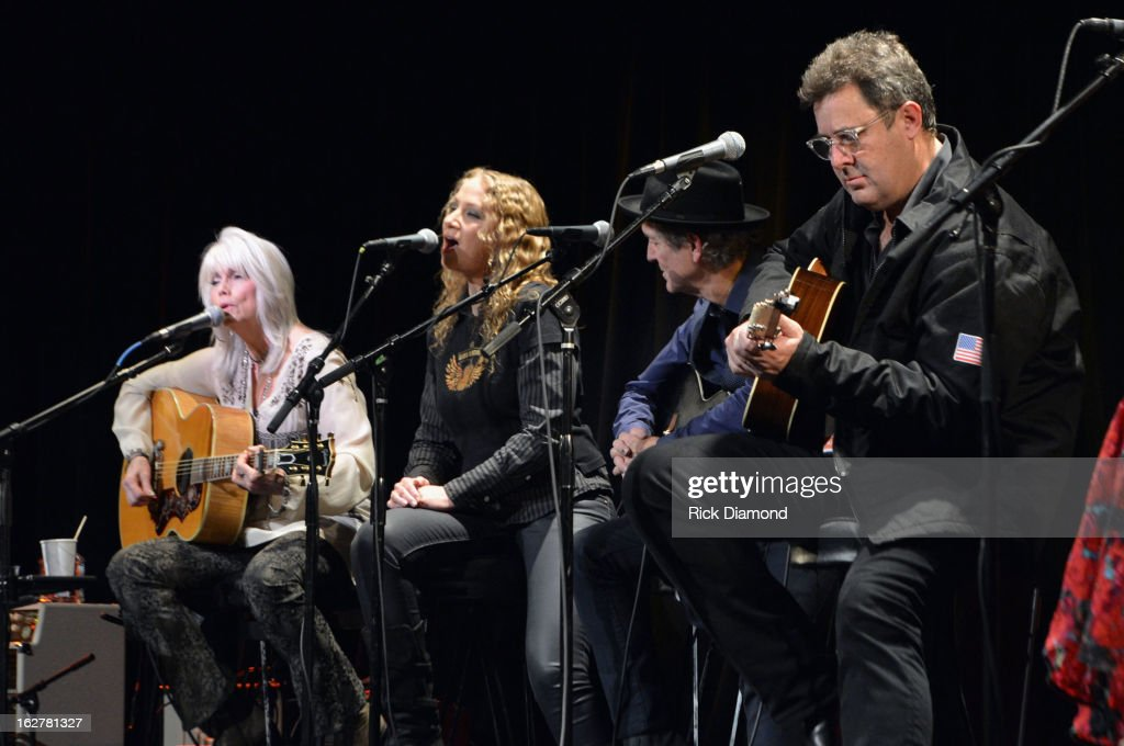 Emmylou Harris, Joan Osborne, Rodney Crowell and Vince Gill perform during the All For the Hall New York concert benefiting the Country Music Hall of Fame at Best Buy Theater on February 26, 2013 in New York City.