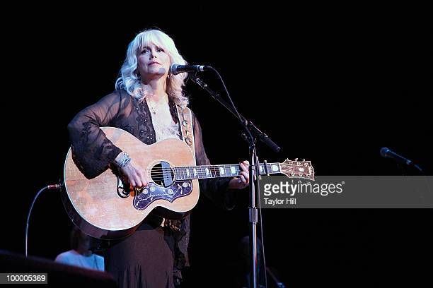 Emmylou Harris performs during the Music Saves Mountains benefit concert at the Ryman Auditorium on May 19 2010 in Nashville Tennessee