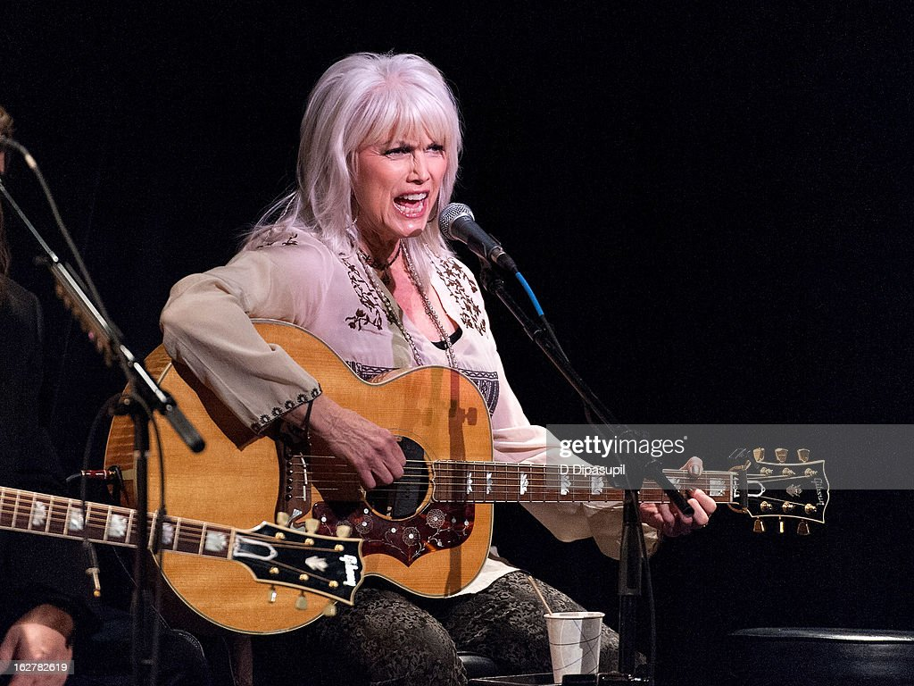 <a gi-track='captionPersonalityLinkClicked' href=/galleries/search?phrase=Emmylou+Harris&family=editorial&specificpeople=240263 ng-click='$event.stopPropagation()'>Emmylou Harris</a> performs on stage during the All For The Hall New York concert benefiting the Country Music Hall Of Fame at Best Buy Theater on February 26, 2013 in New York City.