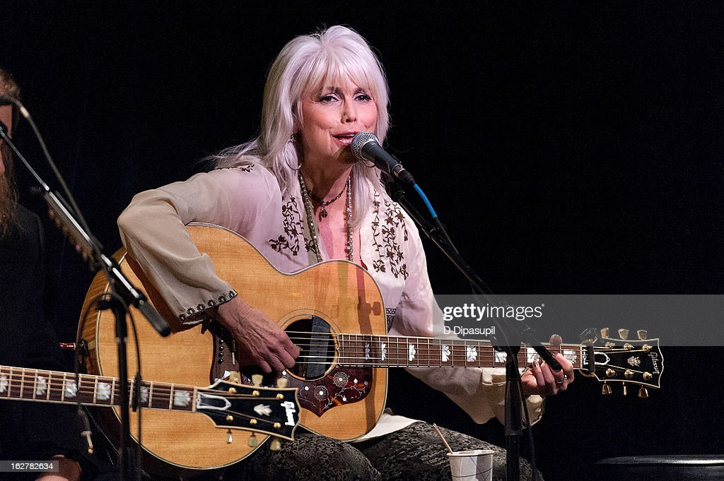 Emmylou Harris performs on stage during the All For The Hall New York concert benefiting the Country Music Hall Of Fame at Best Buy Theater on February 26, 2013 in New York City.