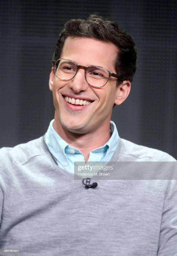 Emmys host <a gi-track='captionPersonalityLinkClicked' href=/galleries/search?phrase=Andy+Samberg&family=editorial&specificpeople=595651 ng-click='$event.stopPropagation()'>Andy Samberg</a> speaks onstage during the Emmy Awards panel discussion at the FOX portion of the 2015 Summer TCA Tour at The Beverly Hilton Hotel on August 6, 2015 in Beverly Hills, California.