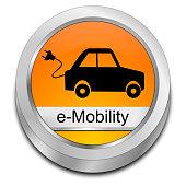 orange e-mobility button - 3D illustration