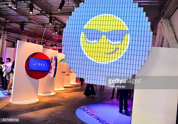 Emojis are seen at the opening party and celebration of LOVE From Cave to Keyboard Imagined by Pepsi at 433 Broadway on July 14 2016 in New York City