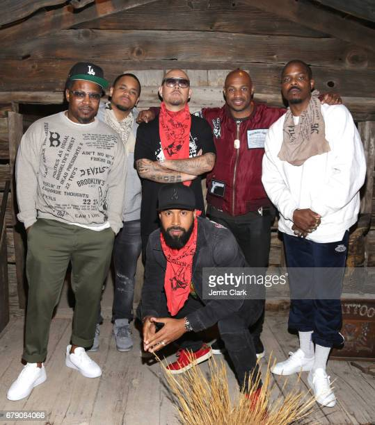 Emory Jones Mack Wilds Ben Baller Kareem 'Biggs' Burke Guest and Kenny Burns attend Roc96 x Madeworn Barney's Launch Event at Madeworn Studios on May...