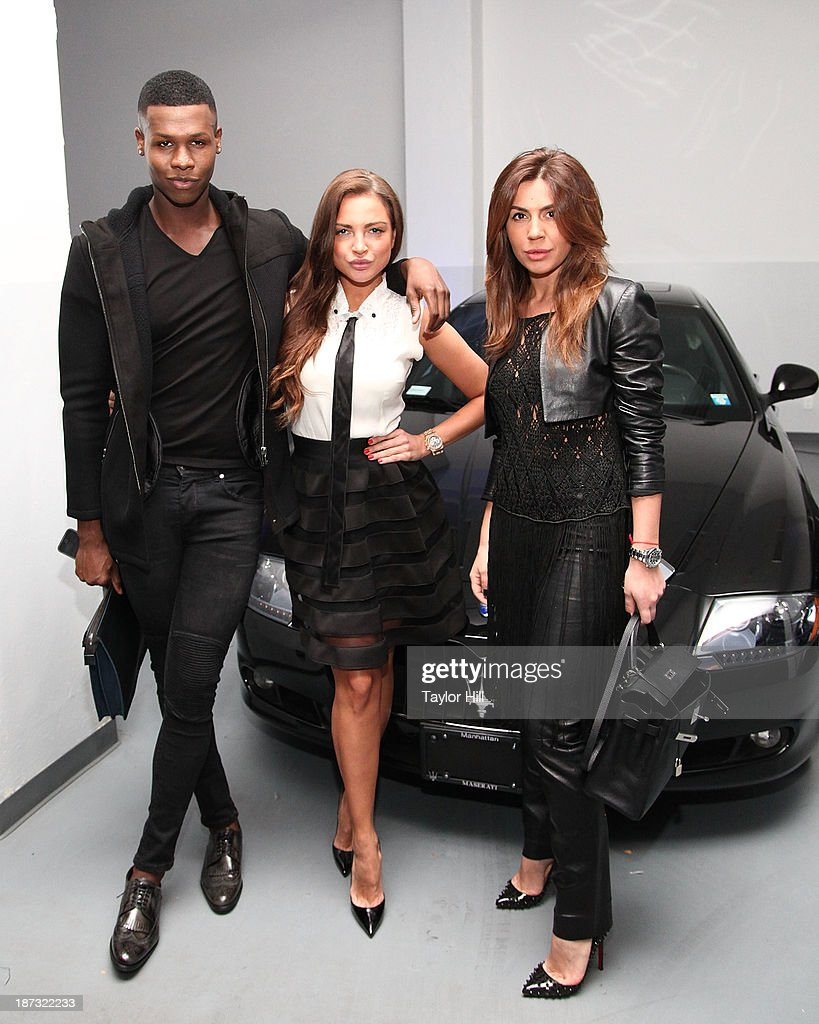 Emory Stewart, Andrea Dubau, and Valeriya Guseva attend the launch of the new Maserati in Manhattan showroom and the preview of the 2014 Maserati Ghibli III on November 7, 2013 in New York City.