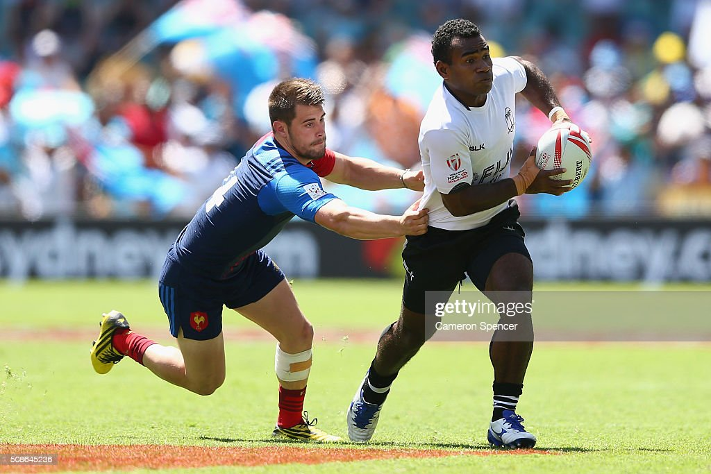 Emosi Mulevoro of Fiji makes a break during the 2016 Sydney Sevens match between Fiji and France at Allianz Stadium on February 6, 2016 in Sydney, Australia.