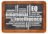 emotional intelligence (EQ) word cloud on an isolated vintage blackboard