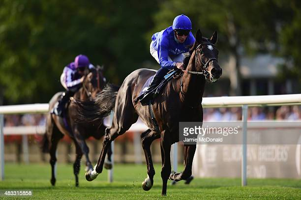Emotionless riden by William Buick wins the discovernewmarketcouk Maiden Stakes at Newmarket Racecourse on August 7 2015 in Newmarket England