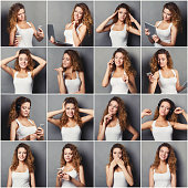 Set of young girl emotions. Casual redhead woman grimacing and gesturing on camera at gray studio background. Happiness, fear, surprise. Positive and negative feelings