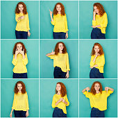 Set of young girl emotions. Casual redhead woman grimacing and gesturing on camera at blue studio background. Happiness, fear, surprise. Positive and negative feelings