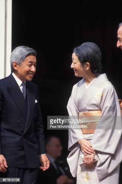 L'empereur Akihito et l'imperatrice Michiko du Japon recus par Edouard Balladur a Matignon le 4 octobre 1994 a Paris France