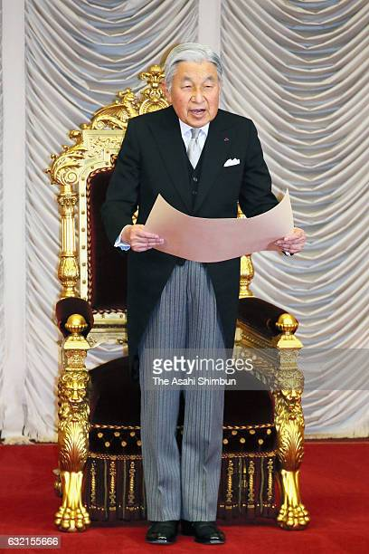 Emperor Akihito addresses during the opening ceremony at an Upper House plenary session as the 194rd ordinary session of the diet convenes on January...
