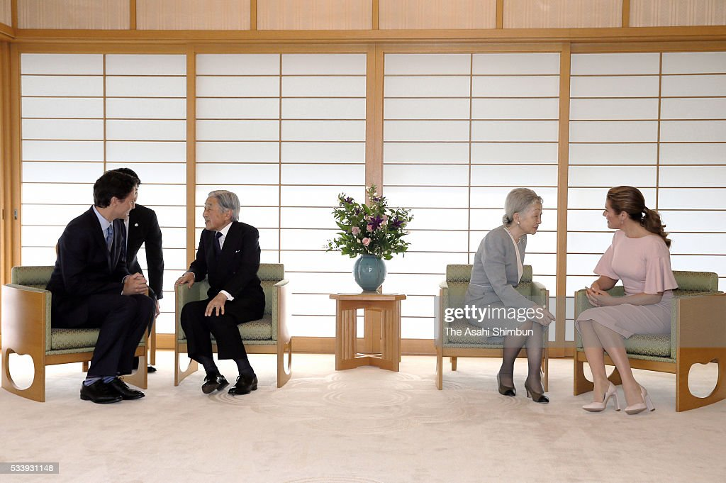 <a gi-track='captionPersonalityLinkClicked' href=/galleries/search?phrase=Emperor+Akihito&family=editorial&specificpeople=14011468 ng-click='$event.stopPropagation()'>Emperor Akihito</a> (2nd L) and Canadian Prime Minister <a gi-track='captionPersonalityLinkClicked' href=/galleries/search?phrase=Justin+Trudeau&family=editorial&specificpeople=2616495 ng-click='$event.stopPropagation()'>Justin Trudeau</a> (1st L) talk while <a gi-track='captionPersonalityLinkClicked' href=/galleries/search?phrase=Empress+Michiko&family=editorial&specificpeople=158725 ng-click='$event.stopPropagation()'>Empress Michiko</a> (2nd R) and Sophie Gregoire-Trudeau (1st R) talk during their meeting at the Imperial Palace on May 24, 2016 in Tokyo, Japan. The Group of Seven summit takes place on May 26 and 27.