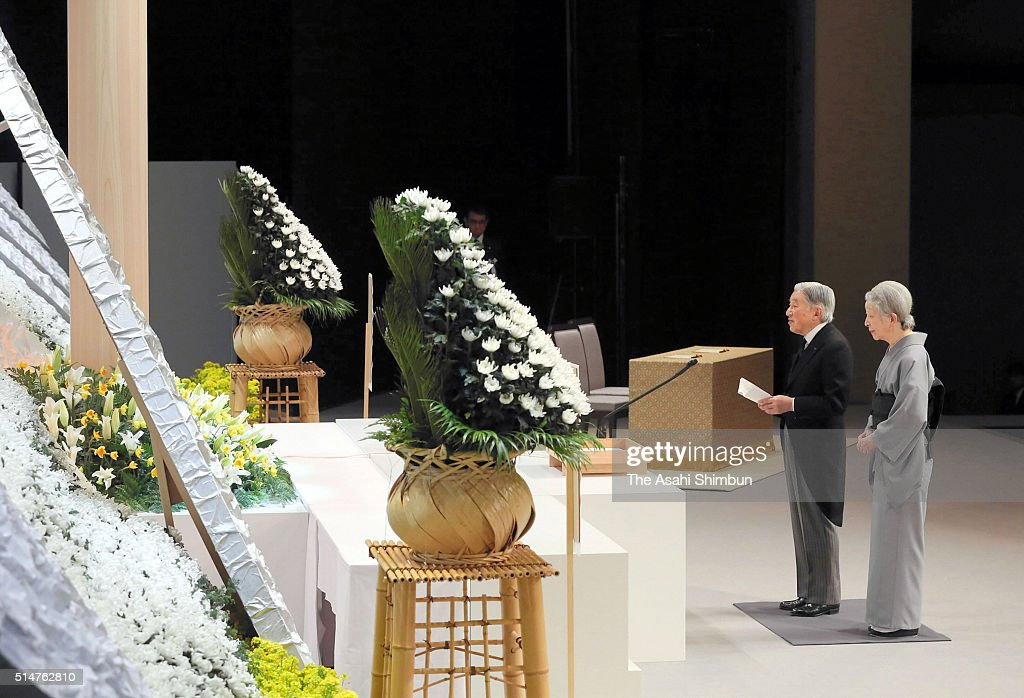 <a gi-track='captionPersonalityLinkClicked' href=/galleries/search?phrase=Emperor+Akihito&family=editorial&specificpeople=14011468 ng-click='$event.stopPropagation()'>Emperor Akihito</a> and <a gi-track='captionPersonalityLinkClicked' href=/galleries/search?phrase=Empress+Michiko&family=editorial&specificpeople=158725 ng-click='$event.stopPropagation()'>Empress Michiko</a> address in front of the altar during the national memorial service at the National Theatre on March 11, 2016 in Tokyo, Japan. Japan marks the fifth anniversary of the Great East Japan Earthquake and following tsunami, which claimed 15,894 lives, 2,562 people are still missing. Sluggish recovery and reconstruction of the devastated area including the radiation contaminated area around the Fukushima Nuclear Plant force 174,000 people to live as evacuees.