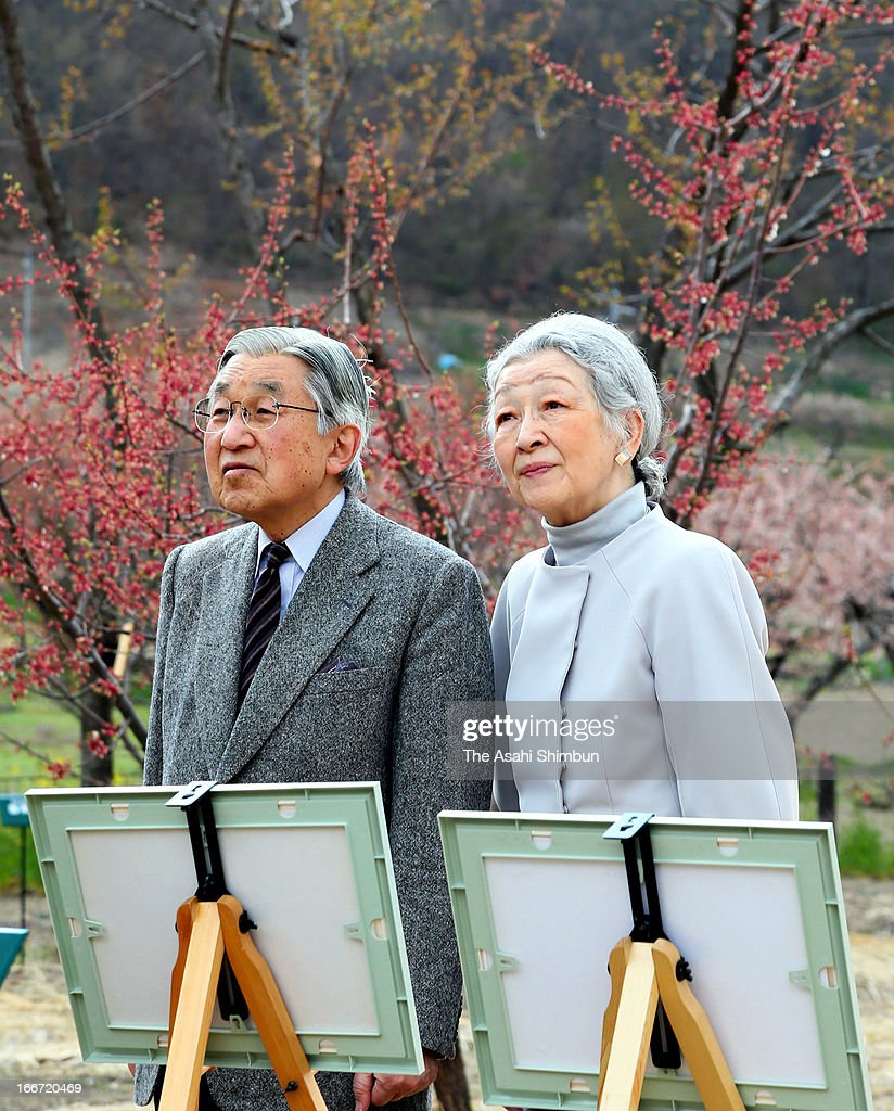 Emperor Akihito and Empress Michiko are seen at an apricot farm on April 15, 2013 in Chikuma, Nagano, Japan. This is their private trip planned by the staffs of the Imperial Household Agency, in hope of Emperor and Empress being relaxed away from their busy official duties.