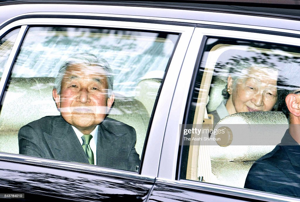 <a gi-track='captionPersonalityLinkClicked' href=/galleries/search?phrase=Emperor+Akihito&family=editorial&specificpeople=14011468 ng-click='$event.stopPropagation()'>Emperor Akihito</a> and <a gi-track='captionPersonalityLinkClicked' href=/galleries/search?phrase=Empress+Michiko&family=editorial&specificpeople=158725 ng-click='$event.stopPropagation()'>Empress Michiko</a> are seen at the St. Luke's International Hospital to visit his uncle Prince Mikasa on June 30, 2016 in Tokyo, Japan. 100-year old Prince Mikasa has been in hospital as he suffered an acute pneumonia last month.