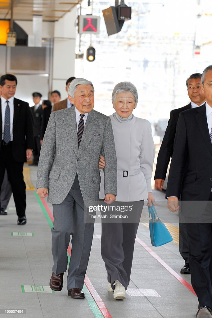 Emperor Akihito and Empress Michiko are seen at Tokyo Station on April 15, 2013 in Tokyo, Japan. This is their private trip planned by the staffs of the Imperial Household Agency, in hope of Emperor and Empress being relaxed away from their busy official duties.