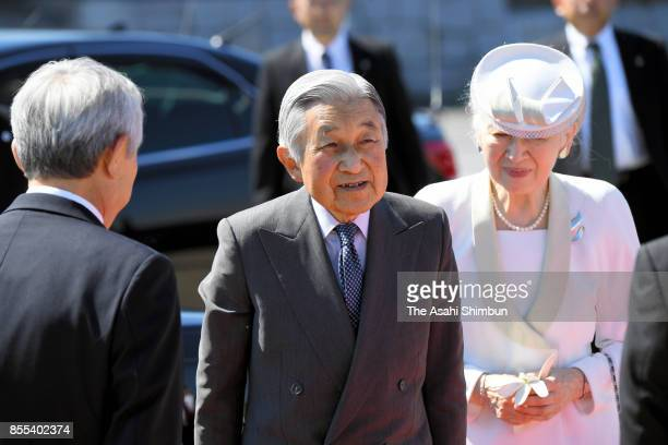 Emperor Akihito and Empress Michiko are seen on arrival at Haneda International Airport on September 29 2017 in Tokyo Japan