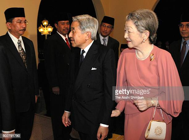 Emperor Akihito and Empress Michiko are seen on arrival at Istana Negara to attend the dinner hosted by Malaysian King on June 10 2006 in Kuala...