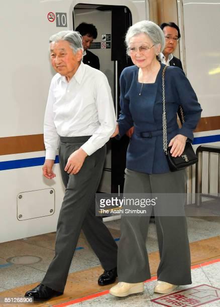Emperor Akihito and Empress Michiko are seen on arrival at JR Tokyo Station after visiting Saitama on September 21 2017 in Fukaya Saitama Japan
