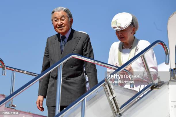 Emperor Akihito and Empress Michiko are seen on arrival at Matsuyama Airport on September 29 2017 in Matsuyama Ehime Japan