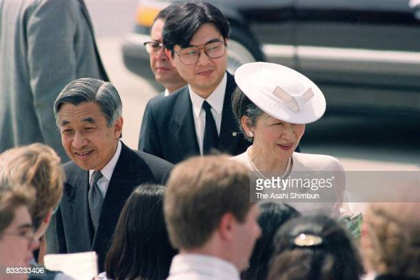 Emperor Akihito and Empress Michiko are seen on arrival at the Hartsfield Atlanta International Airport on June 10 1994 in Atlanta Georgia
