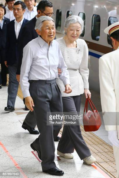 Emperor Akihito and Empress Michiko are seen on departure at JR Tokyo Station on August 22 2017 in Tokyo Japan