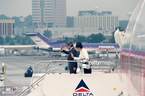 Emperor Akihito and Empress Michiko are seen on departure at the Hartsfield Atlanta International Airport on June 11 1994 in Atlanta Georgia