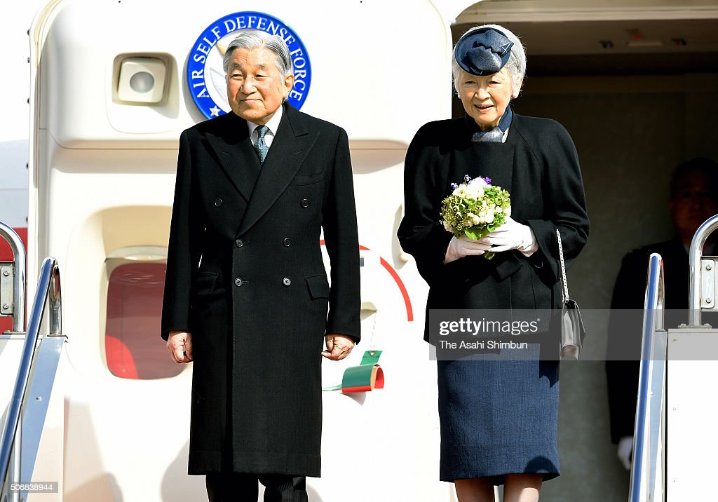 <a gi-track='captionPersonalityLinkClicked' href=/galleries/search?phrase=Emperor+Akihito&family=editorial&specificpeople=14011468 ng-click='$event.stopPropagation()'>Emperor Akihito</a> and Empress Michiko are seen on departure for the Phillippines at Haneda International Airport on January 26, 2016 in Tokyo, Japan. The 5-day visit, their first since 1962 when they were crown prince and princess, is the latest in a series of trips to mourn wartime victims across the Asia-Pacific region.