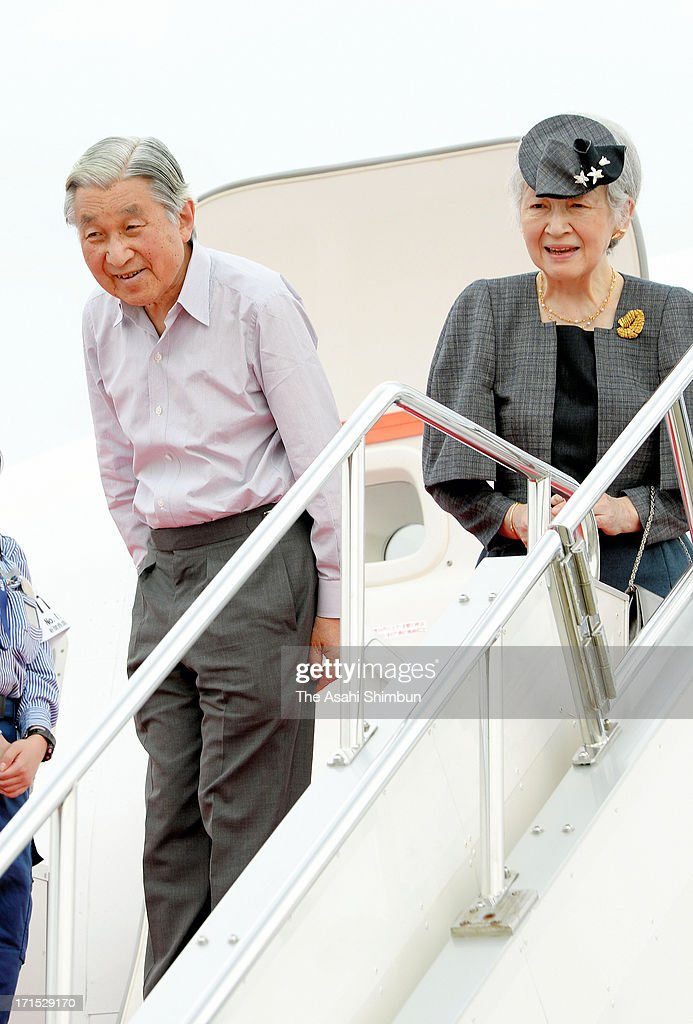 Emperor Akihito and <a gi-track='captionPersonalityLinkClicked' href=/galleries/search?phrase=Empress+Michiko&family=editorial&specificpeople=158725 ng-click='$event.stopPropagation()'>Empress Michiko</a> are seen on departure for Tokyo after visiting Kyoto and Osaka at Osaka International Airport on June 25, 2013 in Itami, Osaka, Japan.