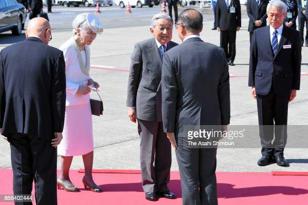 Emperor Akihito and Empress Michiko are seen on depature at Haneda International Airport on September 29 2017 in Tokyo Japan